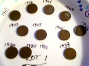 CANADIAN 1920 1949 SMALL CENTS .. LOT 1  11  COINS