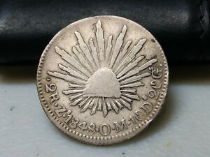 1848 MEXICO ZS OM 2 REALES SILVER COIN   L4