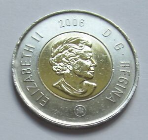 combined shipping 2006 CANADA  2 DOLLAR TOONIE WITH DATE ON TOP