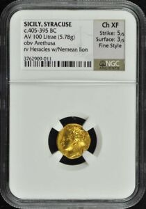 Click now to see the BUY IT NOW Price! C.405 395 BC SICILY SYRACUSE AV 100 LITRAE GOLD NGC XF45 FINE STYLE