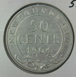 1904 NEW FOUNDLAND 50 CENT SILVER PIECE FREE SHIP IN THE USA