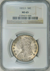 Click now to see the BUY IT NOW Price! 1822/1 NGC MS65 BUST HALF A  OVERDATE WITH NICE LUSTER & EYE APPEAL