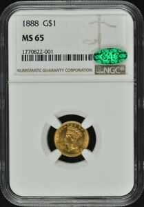 1888 GOLD DOLLAR   TYPE 3 G$1 NGC MS65  CAC