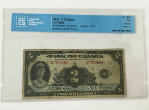 1935 2 DOLLARS BANK OF CANADA  ENGLISH LETTER C  CCCS F 12