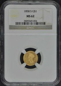 1858 S GOLD DOLLAR   TYPE 3 G$1 NGC MS62