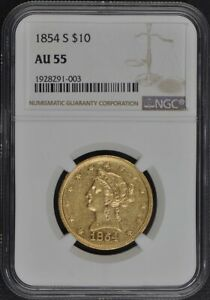 Click now to see the BUY IT NOW Price! 1854 S EAGLE   NO MOTTO $10 NGC AU55