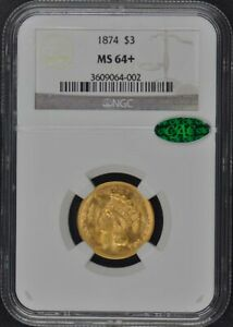 Click now to see the BUY IT NOW Price! 1874 THREE DOLLAR $3 NGC MS64   CAC