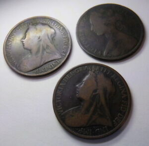 ONE  1  PENNY 1872 1896 1899 ENGLISH GREAT BRITAIN COINS QUEEN VICTORIA