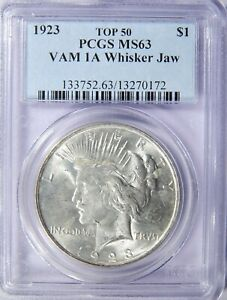 1923 PEACE SILVER DOLLAR VAM 1A WHISKER JAW PCGS MS 63