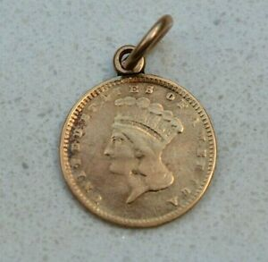 OLD 1857 USA UNITED STATES AMERICAN INDIAN GOLD $1 DOLLAR COIN  NICE