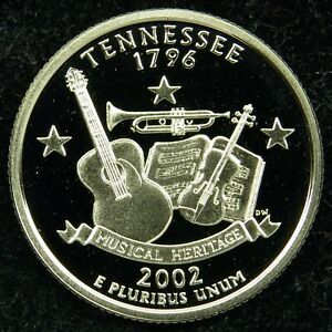 2002 S DEEP CAMEO CLAD PROOF TENNESSEE STATE QUARTER  C01