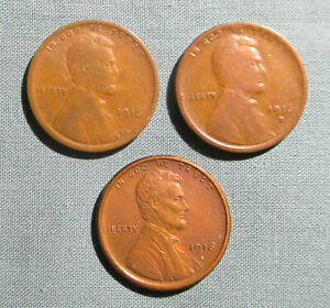 1916 P 1916 D 1916 S LINCOLN PENNIES    3  U.S. 1 CENT PENNY