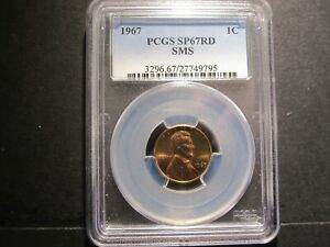1967 SMS LINCOLN MEMORIAL CENT PCGS SP 67 RD   TEXAS COINS
