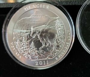 2011 AMERICA THE BEAUTIFUL GLACIER SILVER 5 OZ .999 GOVERNMENT ROUND IN CAP