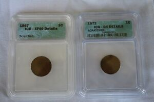 R DATES 1867 & 1872 ICG CERTIFIED INDIAN HEAD CENTS.