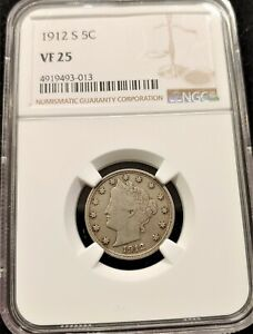 1912 S NGC VF25 KEY DATE LIBERTY V NICKEL   SOLID FOR THE GRADE