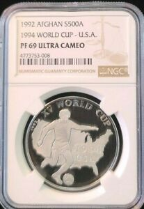 Click now to see the BUY IT NOW Price! 1992 AFGHANISTAN SILVER 500 AFGHANIS WORLD CUP USA NGC PF 69 ULTRA CAMEO TOP POP