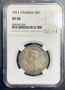 Click now to see the BUY IT NOW Price!    1911 50C CANADA SILVER HALF DOLLAR NGC XF45