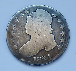 1824 U.S. CAPPED BUST SILVER HALF DOLLAR   FAIR   ABOUT GOOD CONDITION