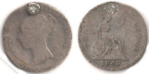 1849 GREAT BRITAIN 4 PENCE KM 731.1 GROAT PLUGGED QUEEN VICTORIA SILVER COIN