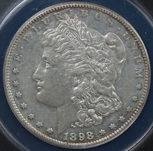 1898 S $1 MORGAN DOLLAR ANACS AU 58 DETAILS CLEANED