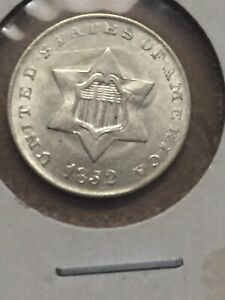 1852 SILVER 3 CENT PIECE IN EXCELLENT UNCIRCULATED  CONDITION