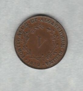 1852 PORTUGAL COPPER 5 REIS IN LY FINE CONDITION