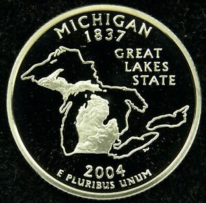 2004 S DEEP CAMEO CLAD PROOF MICHIGAN STATE QUARTER  C01