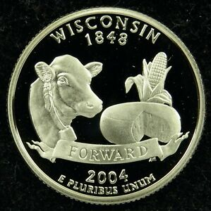2004 S DEEP CAMEO CLAD PROOF WISCONSIN STATE QUARTER  C01