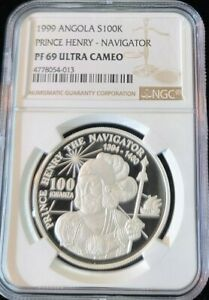 Click now to see the BUY IT NOW Price! 1999 ANGOLA SILVER 100 KWANZA PRICE HENRY NAVIGATOR NGC PF 69 ULTRA CAMEO POP 1