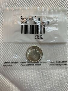 1955 S UNCIRCULATED 90  SILVER ROOSEVELT DIME LITTLETON COIN CO. SEALED WRAPPER