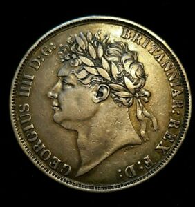 1821 GEORGE IV   SECUNDO INITIALS UPRIGHT CROWN SILVER UK COIN   GRADE VF