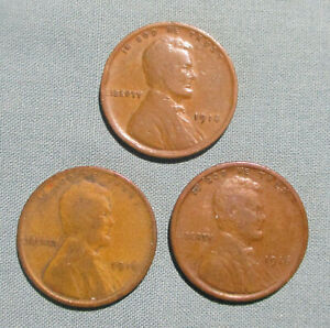 1914 1915 1916 P LINCOLN PENNIES    3  1 U.S. CENT PENNY