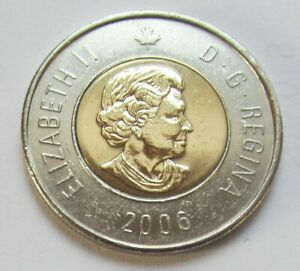 2006 CANADA  2 DOLLAR TOONIE    WITH DATE ON BOTTOM   COMBINED SHIPPING