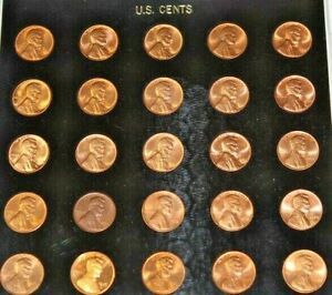 25 COIN UNC 1955 THRU 1979 LINCOLN WHEAT AND MEMORIAL CENTS IN CAP PLASTIC CASE