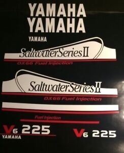 Yamaha 225 OX66 Saltwater Series II Dekaler kit  white and red set  free ship  - 572.16 KR