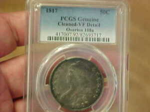 1817 CAPPED BUST HALF DOLLAR PCGS VF DETAIL OVERTON 108A O 108A R4 TONED