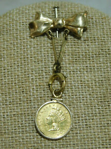 1857 $1 ONE DOLLAR INDIAN PRINCESS HEAD GOLD COIN BOW BEZEL PENDANT PIN