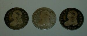 THREE NICE 1818 1819 1820 SILVER CAPPED BUST QUARTER 25C LARGE SIZE