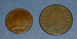 TWO 1811 HALF CENT 1/2C AND CLASSIC HEAD LARGE CENT 1C U.S. COPPER COINS