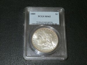 1885 MORGAN DOLLAR. PCGS MS 62. EXCELLENT EYE APPEAL.