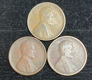 1917 P D S LINCOLN WHEAT PENNIES