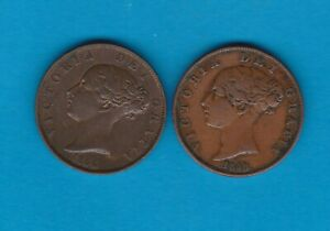 TWO 1854 & 1858 VICTORIA HALFPENNIES IN GOOD FINE CONDITION