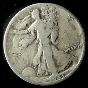 1943 P WALKING LIBERTY 90  SILVER HALF SHIPS FREE. BUY 5 FOR $2 OFF