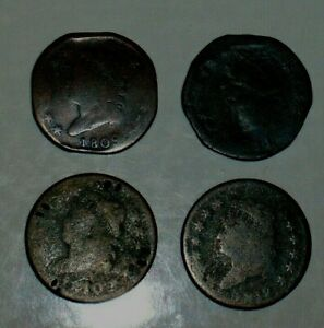 4 CLASSIC HEAD LARGE CENT 1809 1810 1811 1813 BETTER DATES 1C
