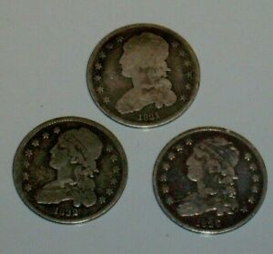 THREE NICE 1831 1832 1836 SILVER CAPPED BUST QUARTER 25C