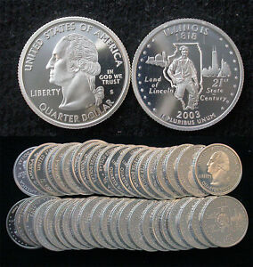 Click now to see the BUY IT NOW Price! ROLL OF 40 2003 S PROOF ILLINOIS 90  SILVER QUARTERS