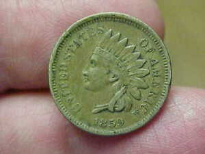 XF 1859 COPPER NICKEL INDIAN HEAD CENT PENNY FULL DATE LETTERING 2 1/2 DIAMONDS