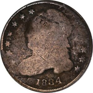 1834 SILVER CAPPED BUST DIME RAW US COIN
