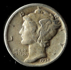 1935 P MERCURY 90  SILVER DIME SHIPS FREE. BUY 5 FOR $2 OFF